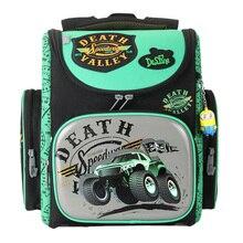 Delune Cartoon School Bag Children Orthopedic School Backpack For Boys Tank Pattern Backpacks Student Mochila Escolar Grade 1-4