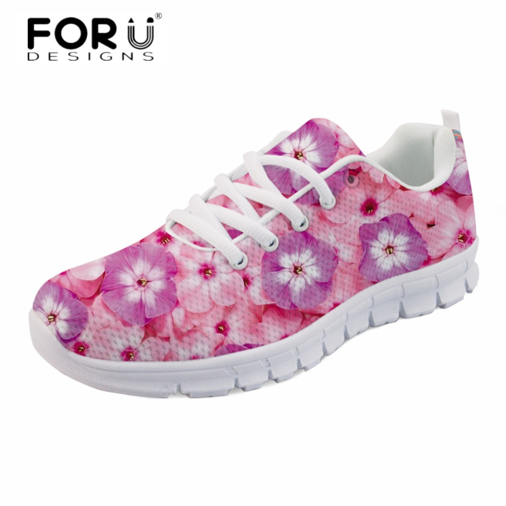 FORUDESIGNS New Arrival Women Casual Flats Pink Flower Comfortable Light Lace Up Sneakers Ladies Breathable Spring Walking Shoes instantarts women casual flats shoes ladies skull flower printed light air mesh fashion sneakers girl lace up shoes plus size