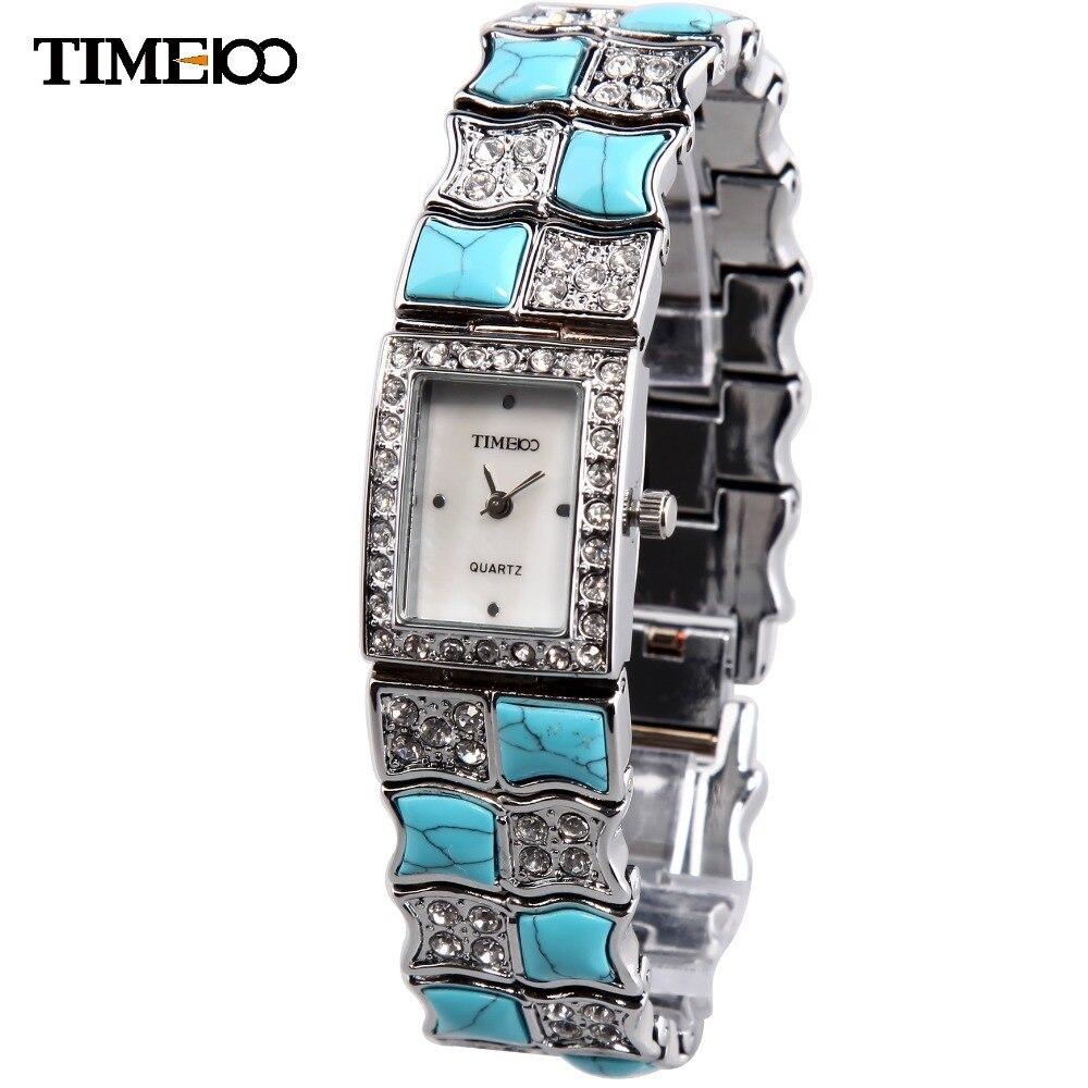 Prix pour TIME100 De Luxe Femmes Bracelet Montre de Bijoux Fermoir Bracelet En Alliage Turquoise Shell Strass Quartz Robe Montres relogio feminino