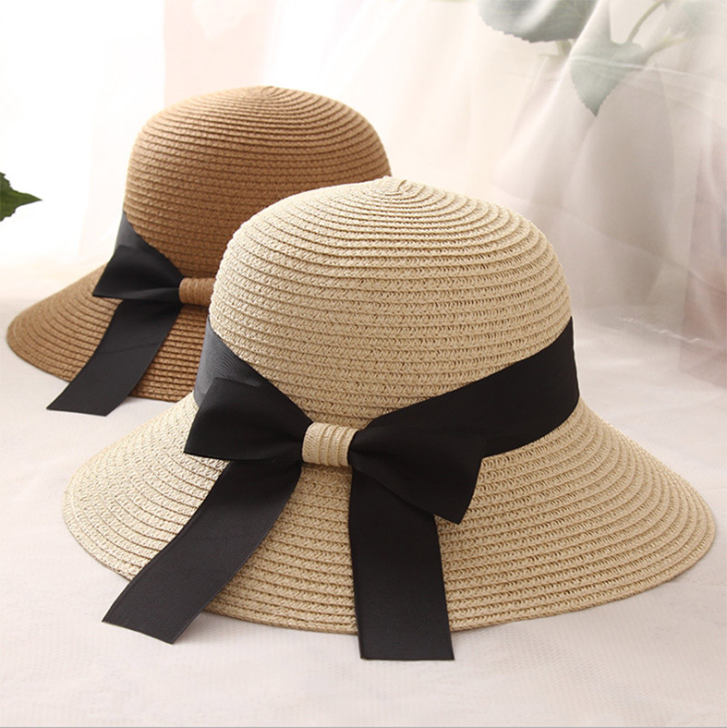 2b37344c18a0c 2018 New Women Wide Brim Floppy Summer Women s Sun Hat Black Bowknot Ribbon  Flanging Straw Hat Beach Caps Anti UV straw hats-in Sun Hats from Apparel  ...