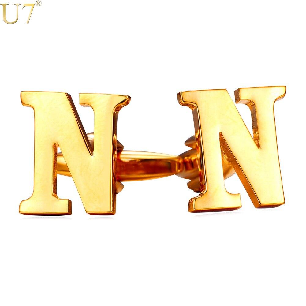 U7 New Men Alphabet N Letter Cufflinks Fashion Jewelry Trendy Name Brand Men Button Cufflinks Wholesale
