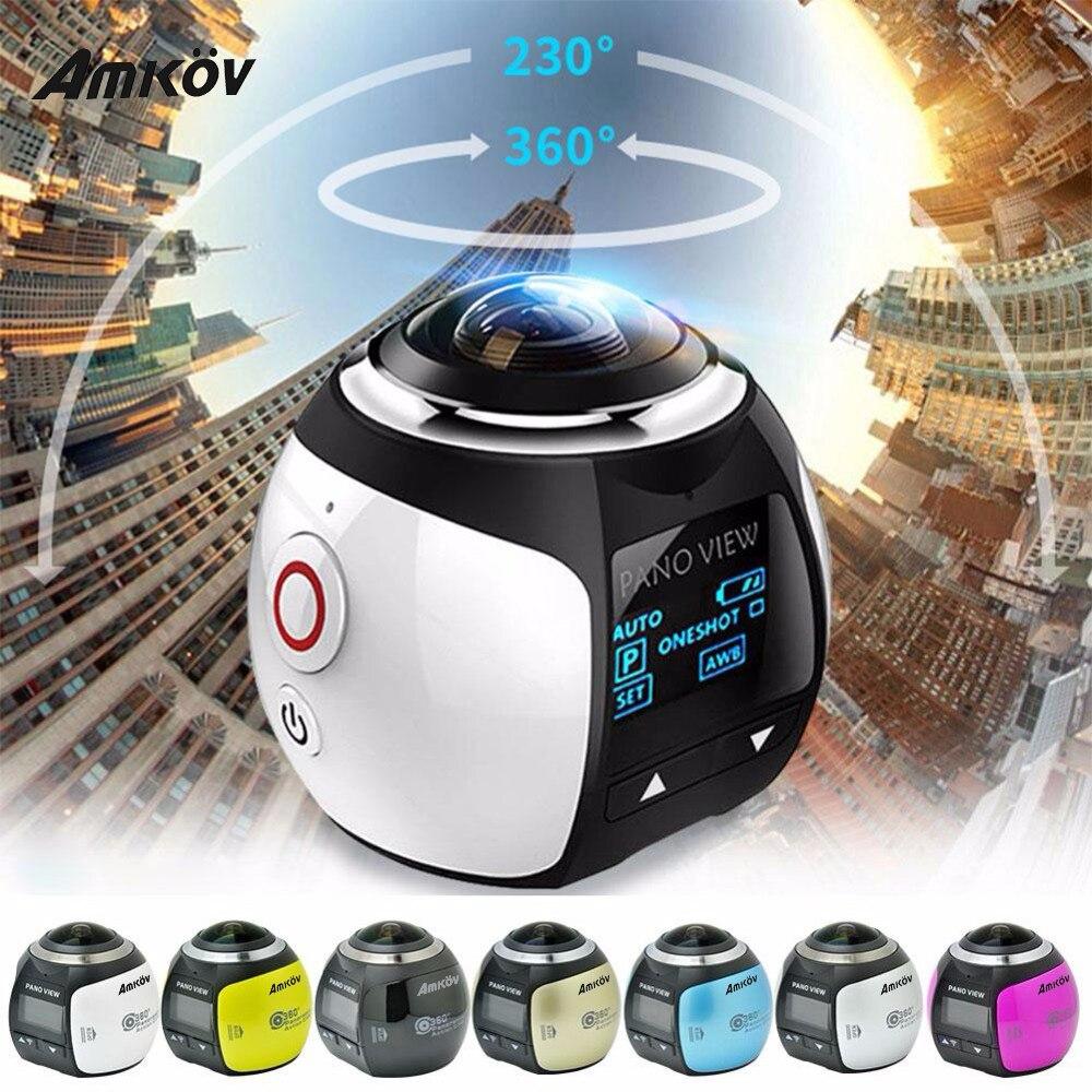 Amkov 360 Mini Câmera de Vídeo V1 Câmera de Ação Dupla Estabilização de Imagem Mini Câmera Esporte 360 Graus Panorama Condução Câmera VR