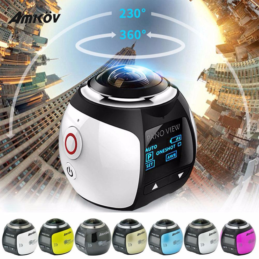 Amkov Mini 360 Video Camera V1 Action Camera Dual Image Stabilization Mini Panorama Camera 360 Degree Sport Driving VR Camera insta360 air 3k hd 360 camera dual lens panoramic camera compact mini vr camera for samsung oppo huawei lg andriod smartphone