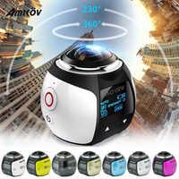 Amkov Mini 360 cámara de vídeo V1 Cámara de Acción estabilización de imagen Dual Mini cámara panorámica de 360 grados en la conducción deportiva Cámara VR