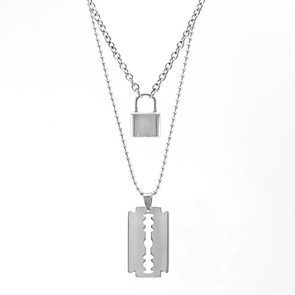 Stainless Steel Double Layer PadLock Necklace