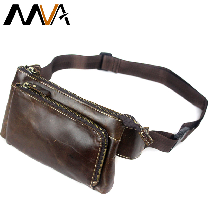 MVA Genuine Leather Men Waist Packs Travel Phone Chest Bags Shoulder Belt Bag Men Money Belt Waist Bags Fanny Pack Male Bag