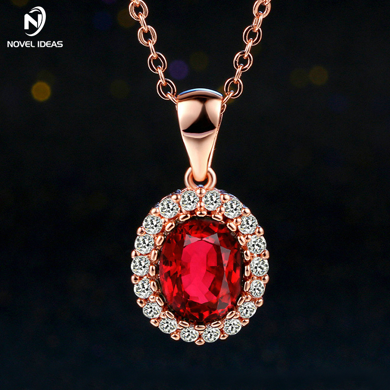 Green Elegant Cubic Zirconia Rose Gold Pated Green Crystal Necklaces & Pendants Fashion Jewelry For Women colares joias