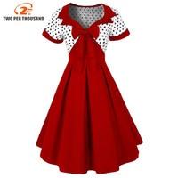 Summer Women Clothing Retro 1950s Bow Midi Dress Female Polka Dots Pinup Rockabilly Sexy Party Dresses