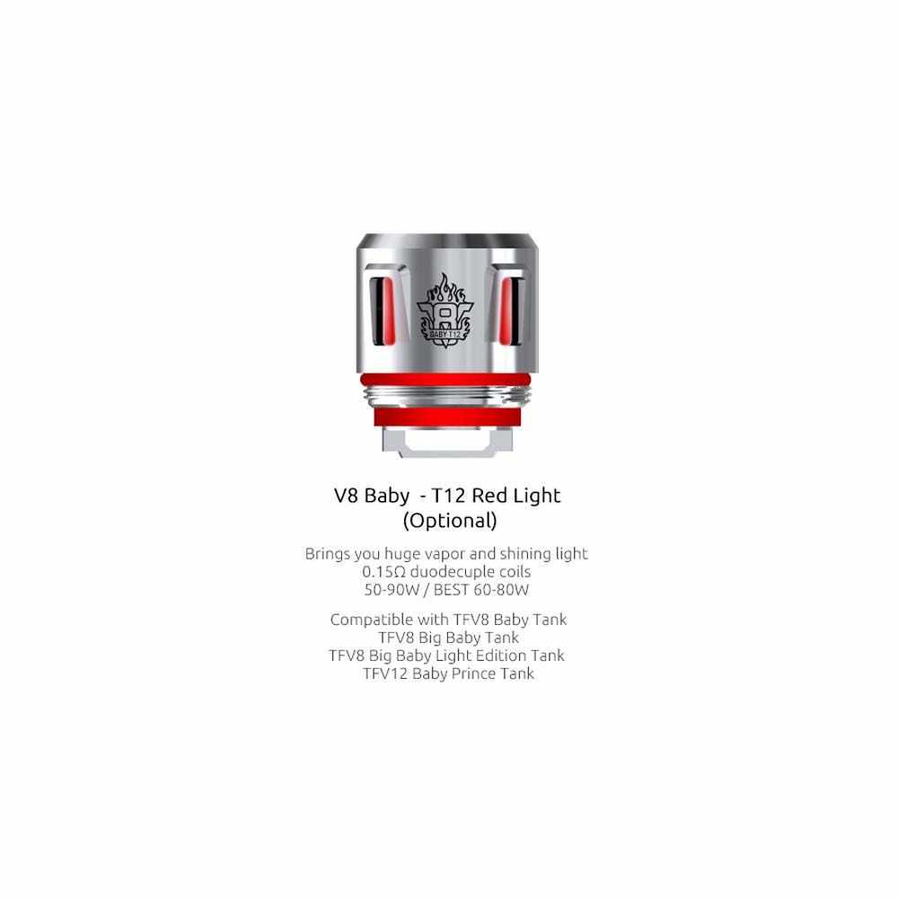 (Almacén RU) SMOK TFV8 cabeza de bobina de bebé V8 bebé T12 luz roja T8 T6 X4 Q2 M2 malla para bebé X-PRIV Mag kit TFV12 bebé Príncipe tanque