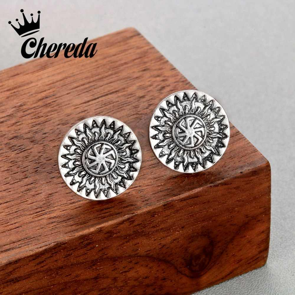 Chereda Viking Sign Vintage Stud Earrings for Men Round Gold Earring Birthday Party Gothic Earring Accessories Earring
