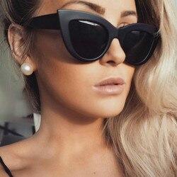 2018 новые женские солнцезащитные очки кошачий глаз, матовые черные брендовые дизайнерские солнцезащитные очки Cateye для женщин, UV400