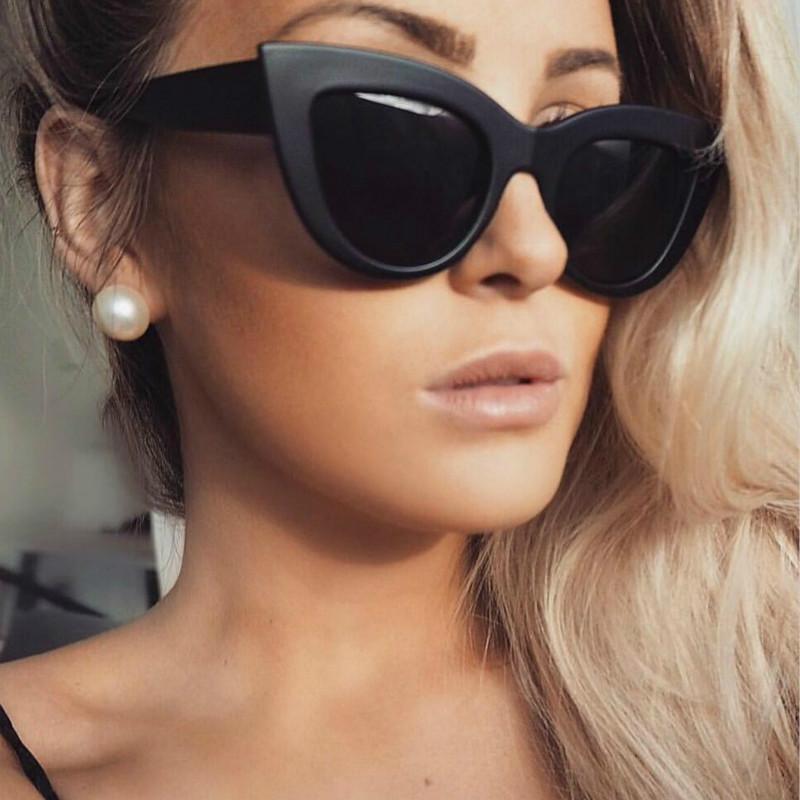 2020 New Women Cat Eye Sunglasses Matt black  Brand Designer Cateye Sun glasses For Female  goggles UV400