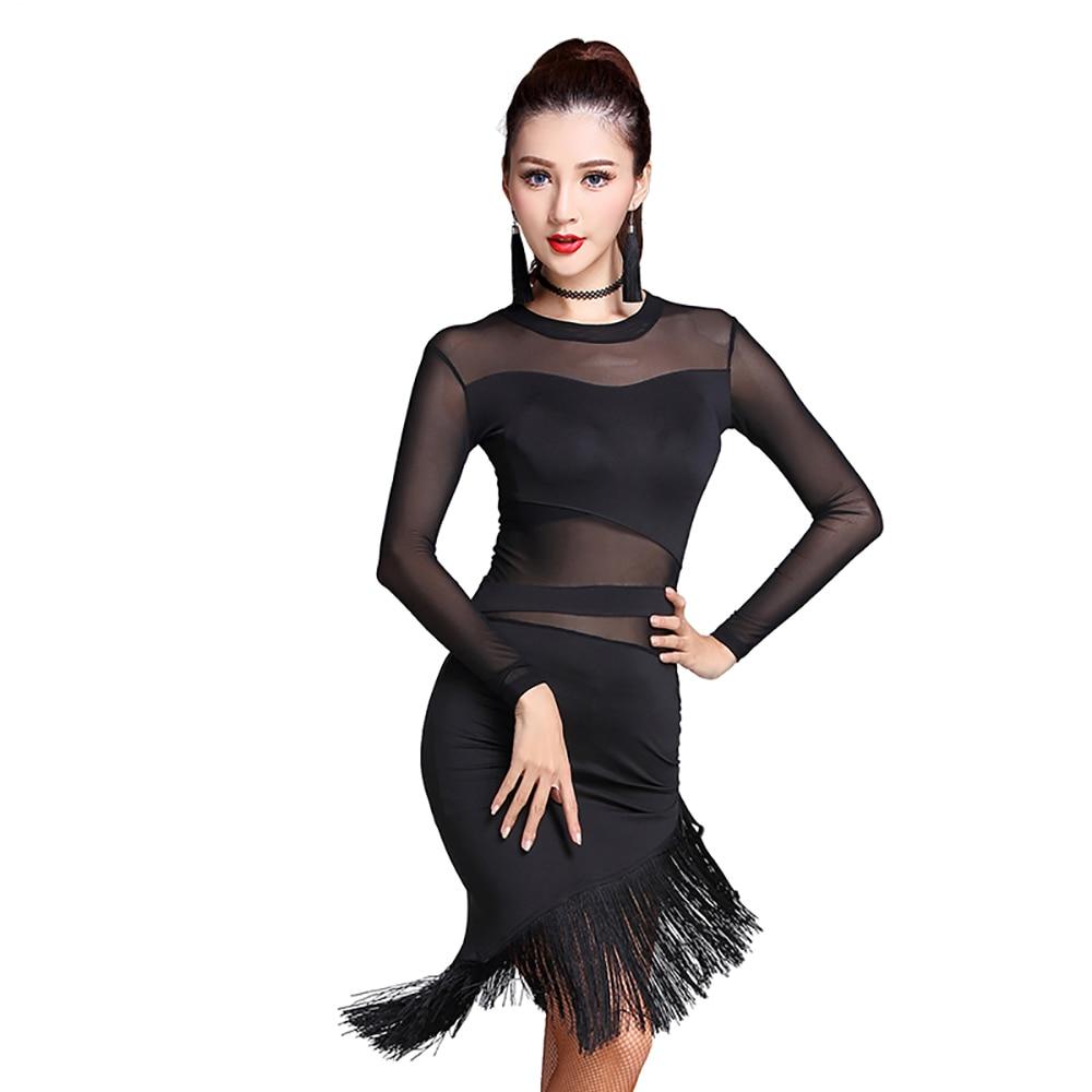 2018 Sieviešu sieviešu latīņu deju kleita Melna flotes tērpu kostīms Tassel Salsa Cha Cha / Rumba / Samba Veikt fitnesa apģērbu MD7102
