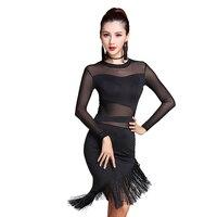 2018 Ladies Women Latin Dance Dress Black Navy Stage Costumes Tassel Salsa Cha Cha/Rumba/Samba Perform Fitness Clothing MD7102