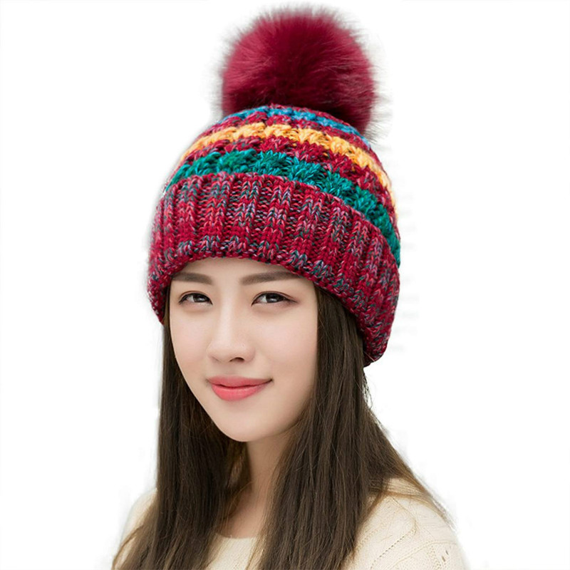 030b84d7f7d7e Aliexpress.com   Buy Women s Winter Slouchy Knitted Hat Fleece Lined Cable  Faux Fur Pom Beanie Hat Striped Pompom Hats Teenager Girl AA10059 from  Reliable ...