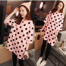 Summer style Lady Pink big dots patterns black trousers Cotton maternity clothes Pajama Set for pregnant maternity sleepwear
