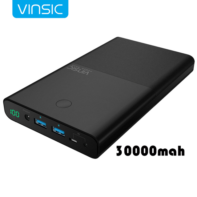 30000mAh VINSIC 18650 Power bank External Battery Supply DC 19V 3.5A Dual USB Poverbank For Notebook Laptops Xiaomi iphone