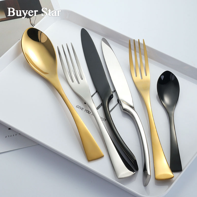 Buyer Star 24 Piece Tableware Stainless Steel Flatware Set Mirror Polish Cutlery include Forks Spoons Knives Set Service for 12 in Flatware Sets from Home Garden
