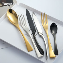 Buyer Star 24-Piece Tableware Stainless Steel Flatware Set Mirror Polish Cutlery include Forks Spoons Knives Service for 12