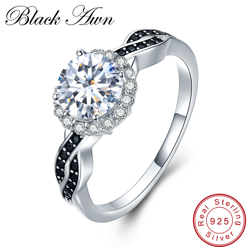 [BLACK AWN] Fine smykker 2.3Ct 100% Ekte 3g 925 Sterling Silver Row Black Spinel Stone Engasjement Ringer for kvinner Bague C036