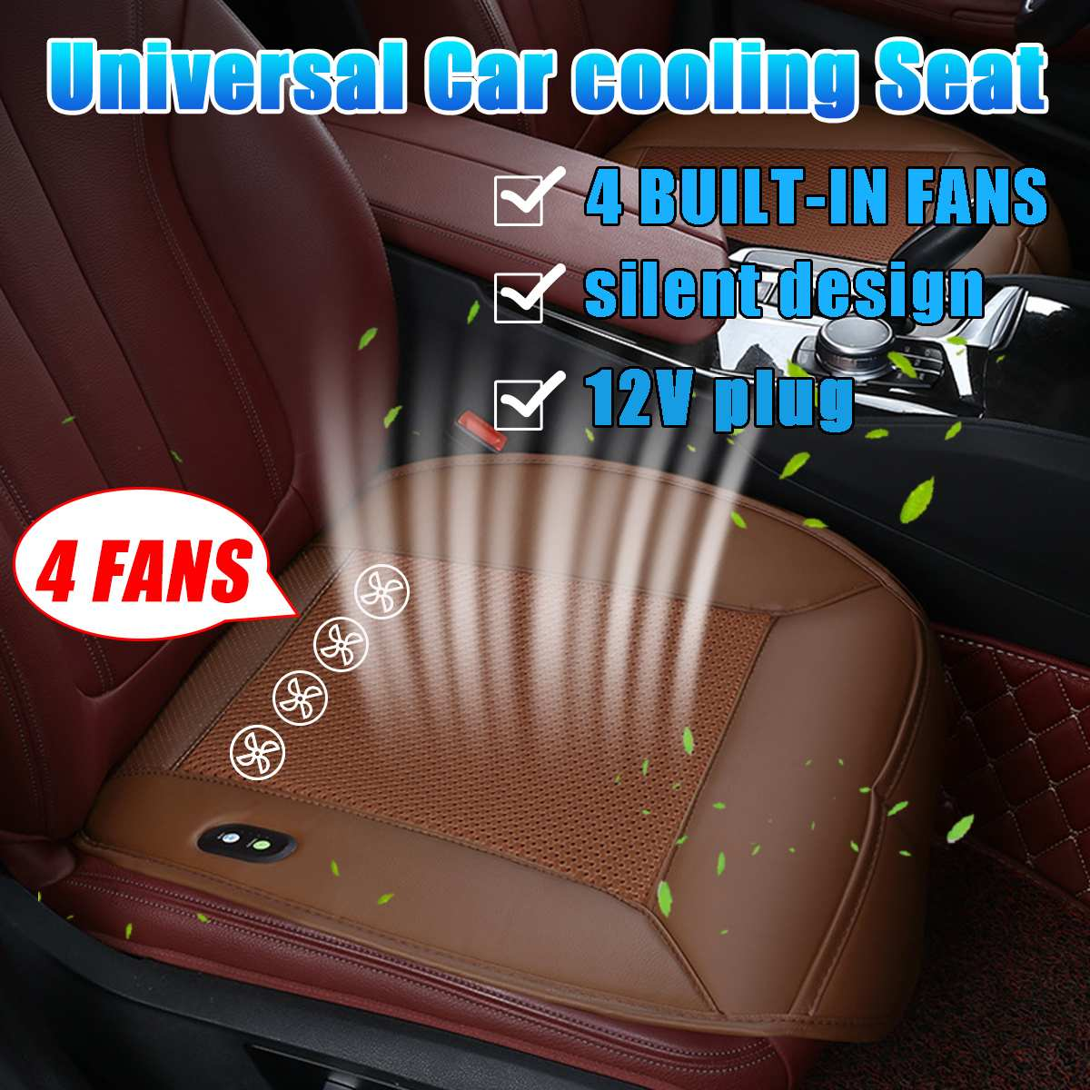 12V 4 BUILT-IN FAN Car Blowing Cool Wind Cold Air Mesh Cushion Seat Leather Cover Summer Refrigeration Cooling Ventilation Seat
