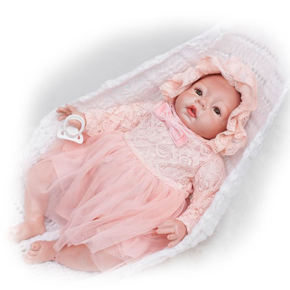 Fashion Babies Stuff Realistic Reborn Doll 20 Inch Soft Silicone Safe Kits Toy Doll Alive bebe Wear Pink Clothes Girl Xmas Gifts npkcollection fashion reborn baby doll 22 with free pacifier safe soft silicone model baby reborn with clothes kits xmas gifts