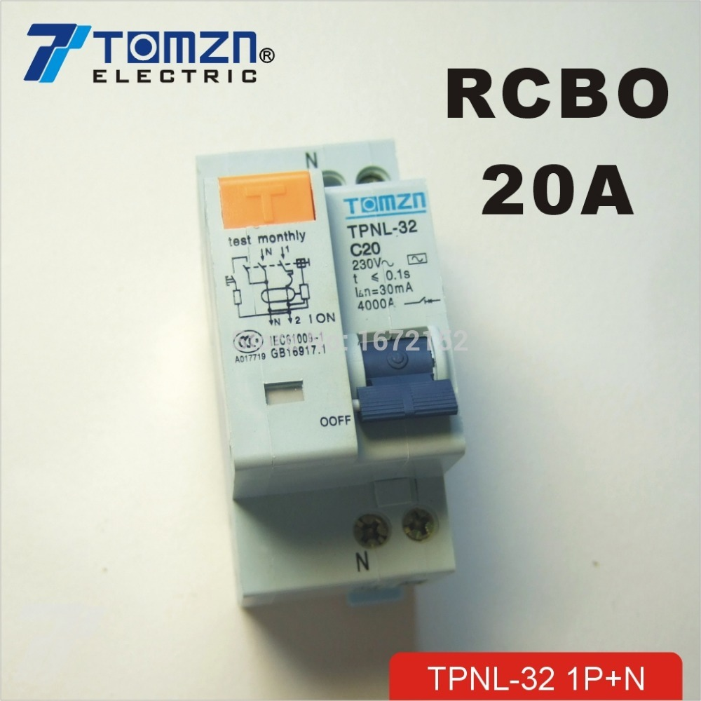 DPNL 1P+N 20A 230V~ 50HZ/60HZ Residual current Circuit breaker with over current and Leakage protection RCBO