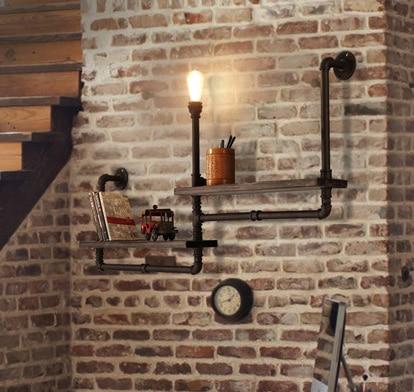 Vintage retro podkroví průmyslové police dřevo tepané železo vodní potrubí nástěnné světlo Edison E27 nástěnné svítidlo Luminaria pro Cafe Bar Home