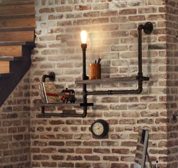 Vintage Retro Loft Industrial Shelf Wood Wrought Iron Water Pipe Wall Light Edison E27 Wall Lamp Luminaria for Cafe Bar Home - DISCOUNT ITEM  20 OFF Lights & Lighting