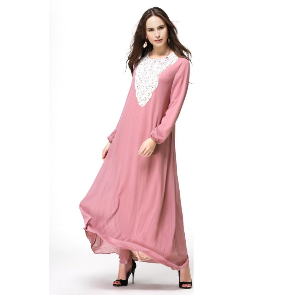 Muslim women dress abaya pure with lace patchwork high waist long ...