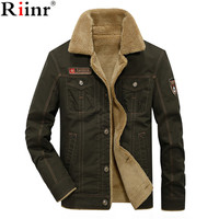 RIINR 2019 Men Jacket Coats Winter Military Bomber Jackets Male Jaqueta Masculina Fashion Denim Jacket Mens Coat