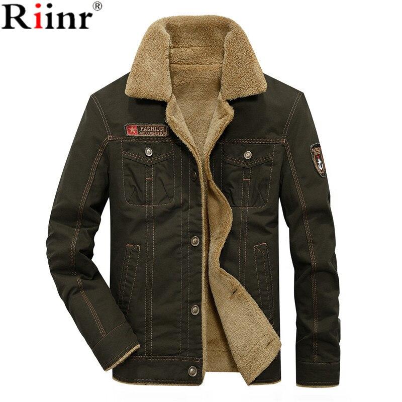 RIINR 2019 hommes veste manteaux hiver militaire Bomber vestes mâle Jaqueta Masculina mode Denim veste hommes manteau