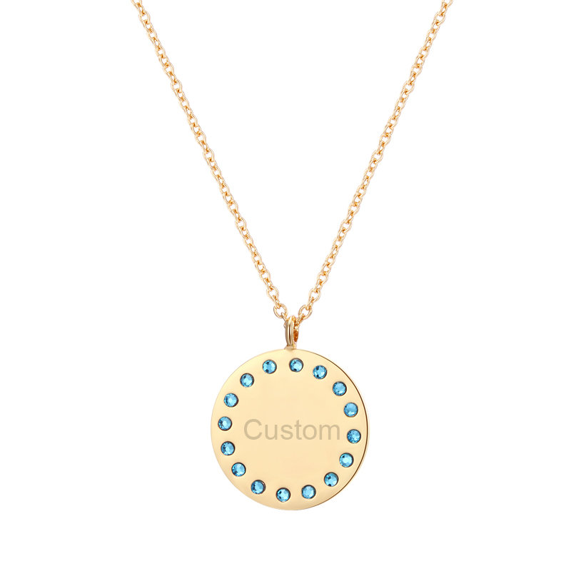 duoying 20 mm disc necklaces gold disc custom name. Black Bedroom Furniture Sets. Home Design Ideas