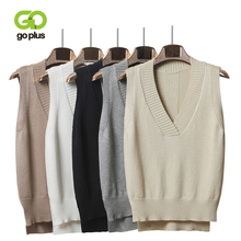 GOPLUS 2019 Womens Knitted Sweater Sexy V neck Sleeveless Vest Pullover For Women Clothing Casual Elegant Mujer