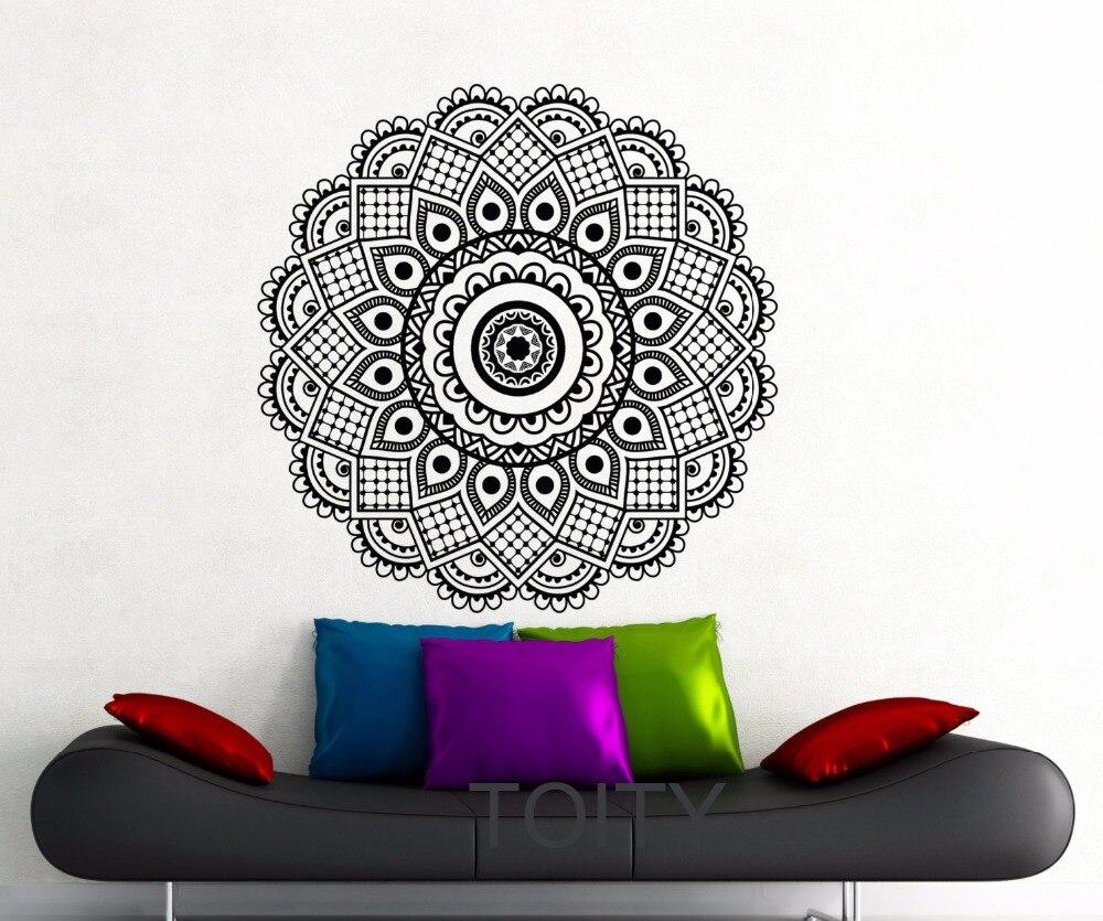 online get cheap namaste wall art sticker aliexpress com mandala black sticker wall art gym mehndi ornament yoga namaste peace pattern vinyl decal home interior