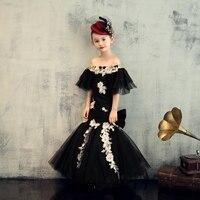 От 2 до 12 лет роскошная черная Русалка детское нарядное платье День рождения святое причастие платье для девочек, с открытыми плечами для де