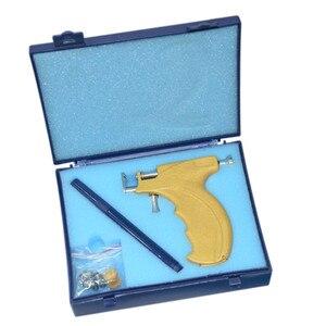 Image 2 - المهنية الفولاذ المقاوم للصدأ الأذن ثقب بندقية أداة مع قلم تحديد مرآة صغيرة لا ألم سلامة أقراط أداة ثقب الأذن الجسم