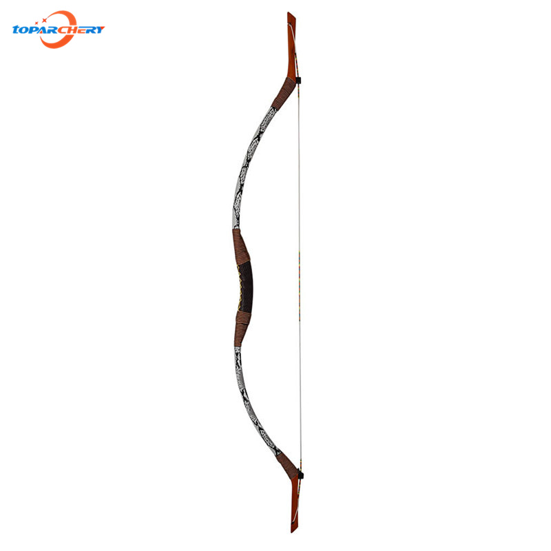 35lbs Handmade Snakeskin Recurve bow with Wood and fiberglass laminated 144cm Traditional Archery Hunting Shooting Longbow