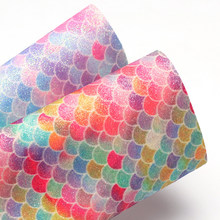 Lychee Life A4 Fish Scale Pattern Faux Leather Fabric High Quality Synthetic Leather DIY Sewing Material for Handmade Crafts(China)