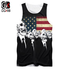 OGKB Cool Skull Printed 3d Tank Top New Arrival Women/men's Sexy American Flag Printing Vest Sleeveless Undershirts Man Singlets(China)