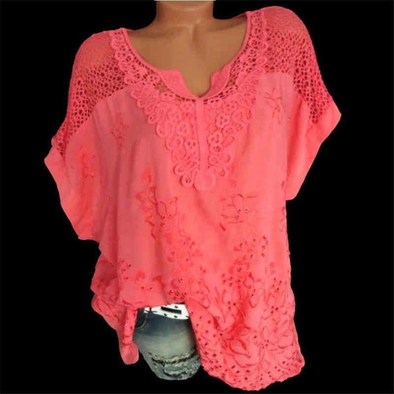 Женские кружевные блузки, сексуальные, v-образный вырез, с коротким рукавом и вышивкой, свободная рубашка летучая мышь, летние белые топы, милые, большие размеры, 5XL рубашки, C0668
