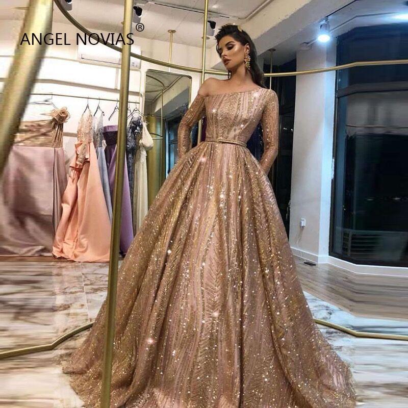 Custom Made Long Sleeves Gold   Evening     Dress   2019 One Shoulder Glitters Lace Arabic Abendkleider Abiye Gece Elbisesi Party Gown