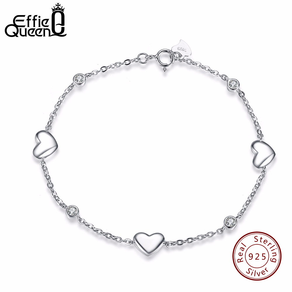 Effie Queen New Real 925 Sterling Silver Charm Bracelets for Women Fashion Heart Bracelet Wedding Party
