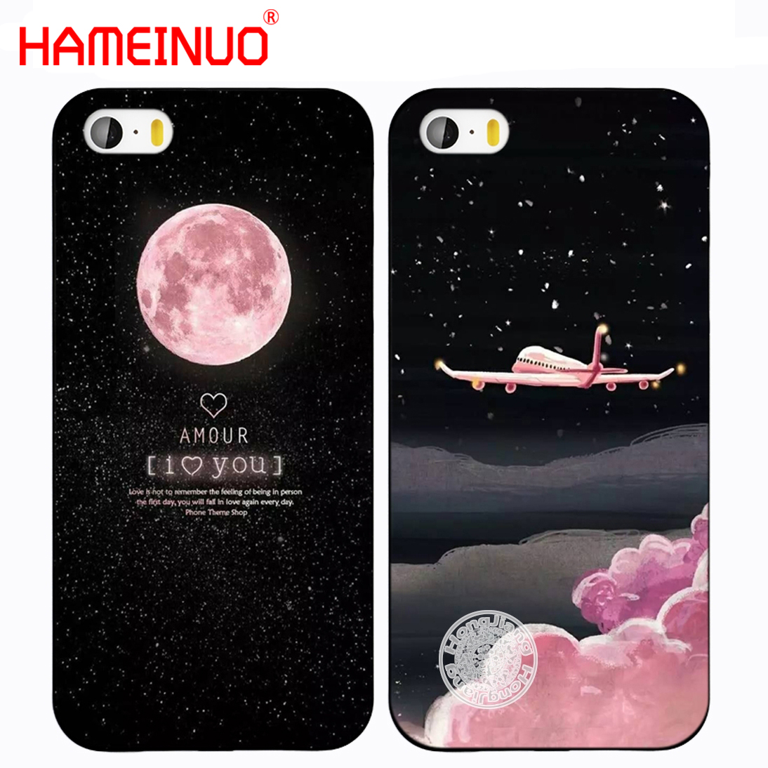 Objective Hameinuo Space Moon Aircraft Air Plane Love Night Print Phone Cover Cases For Iphone 7 8 Plus Black Hard Pc Girl Fashion Phone Bags & Cases