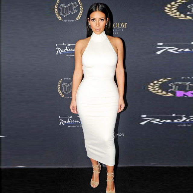 Kim Kardashian Bodycon Dress Sexy High Neck Sleeveless Off Shoulder 2
