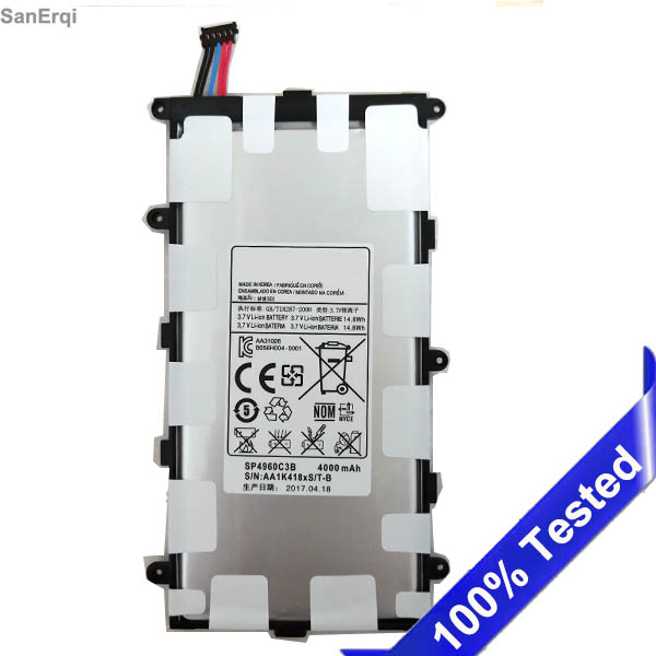 for samsung P3100 P3110 P3113 P6200 P6210 Battery SP4960C3B Tab 2 7.0 & 7.0 Plus GT-P3100 New 4000mah Batterie SanErqi