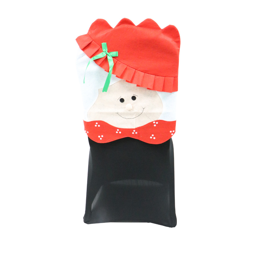 Lovely Mr & Mrs Santa Claus Christmas Red Hat Dining Room Chair Cover Seat Back Cover Coat Home Party Decor Xmas Table Accessory