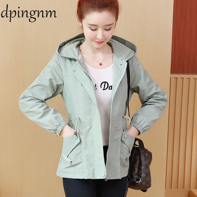 2019 Autumn Women Bomber   Basic     Jacket   Pocket Zipper Hooded Wear Outwear Loose Coat