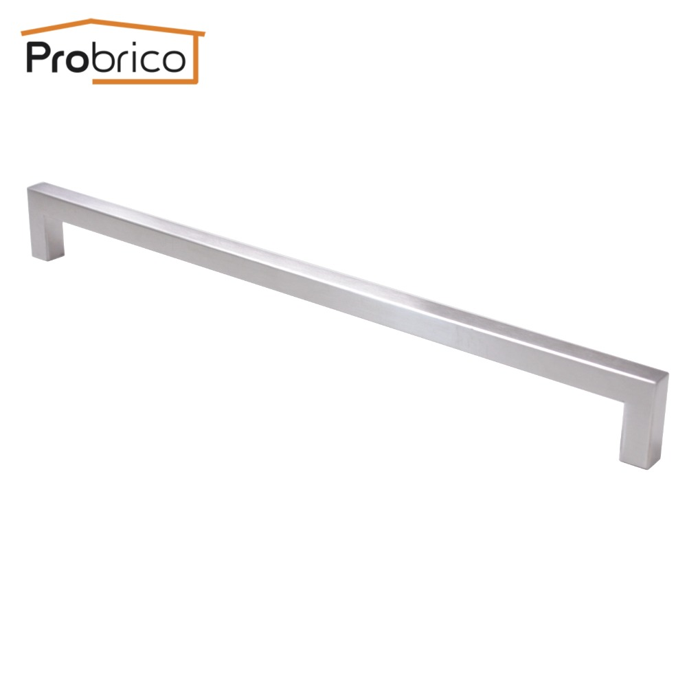 Probrico Cabinet Door Handle Square Bar Size 12mm*12mm Stainless Steel Hole Space 320mm Furniture Drawer Knob Pull PDDJ27HSS320 probrico grey stainless steel kitchen cabinet handle diameter 12mm hole to hole 224mm furniture drawer knob pull pd201hgy224