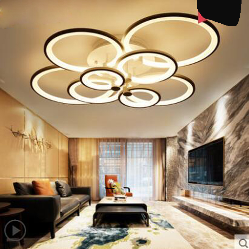 Living room lamp simple modern atmosphere home lighting creative round led ceiling lamp warm and romantic master bedroom lamp modern simple three head lamp living room bedroom lamp warm romantic creative dining pendant lamp led